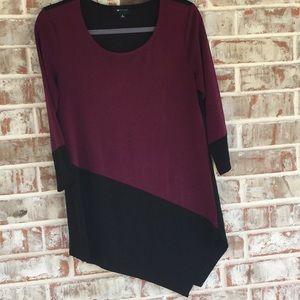 Sz S Burgundy/Black Asymmetrical Tunic